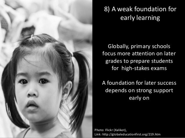 8) A weak foundation for early learning Photo: Flickr (frankdouwes) Globally, primary schools focus more attention on late...
