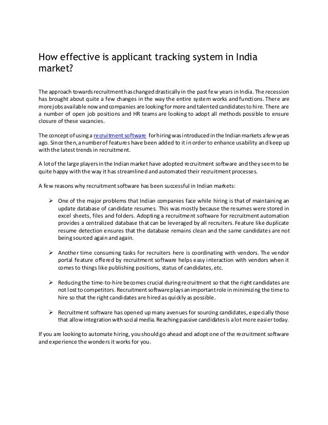how effective is applicant tracking system in india market