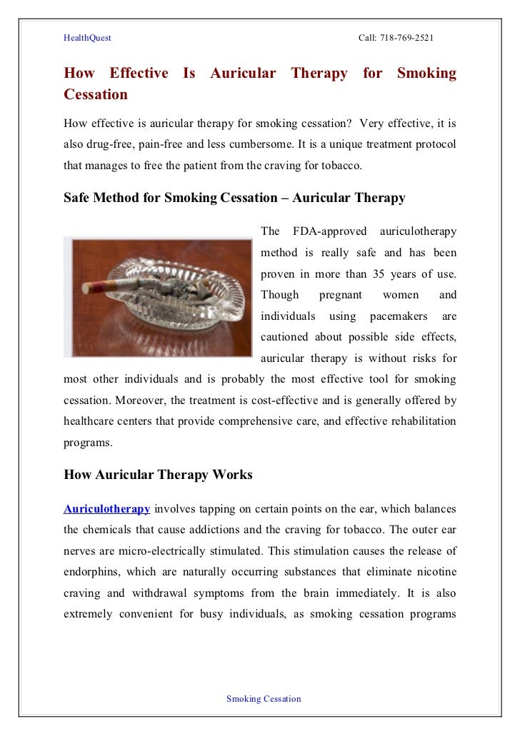 hypnotherapy as an effective treatment for smoking cessation Smoking cessation hypnosis is a 100% safe and drug free way to achieve freedom from tobacco quit smoking today the proven method a great number of people find hypnotherapy an effective treatment for smoking.