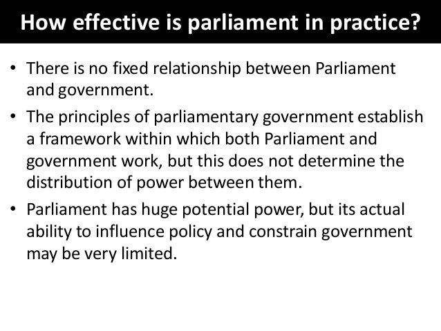 to what extent is parliamentary control of the government no longer effective Parliamentary sovereignty is a principle of the uk constitution it makes parliament the supreme legal authority in the uk, which can create or end any law generally, the courts cannot.
