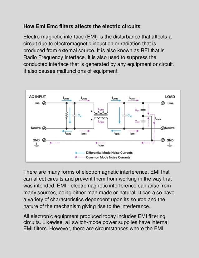 How emi emc filters affects the electric circuits