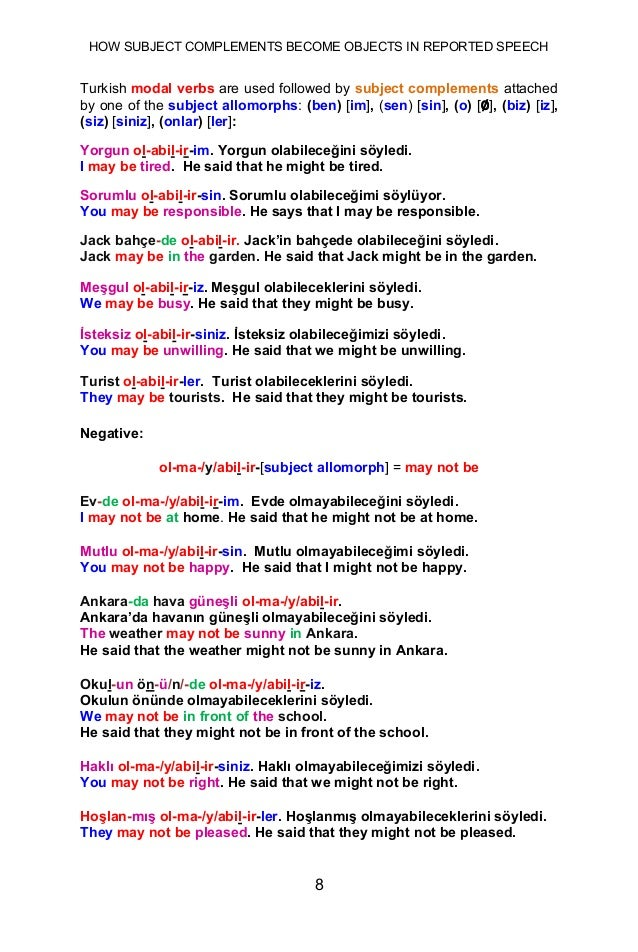 HOW SUBJECT COMPLEMENTS BECOME OBJECTS IN REPORTED SPEECH 8 Turkish modal verbs are used followed by subject complements a...