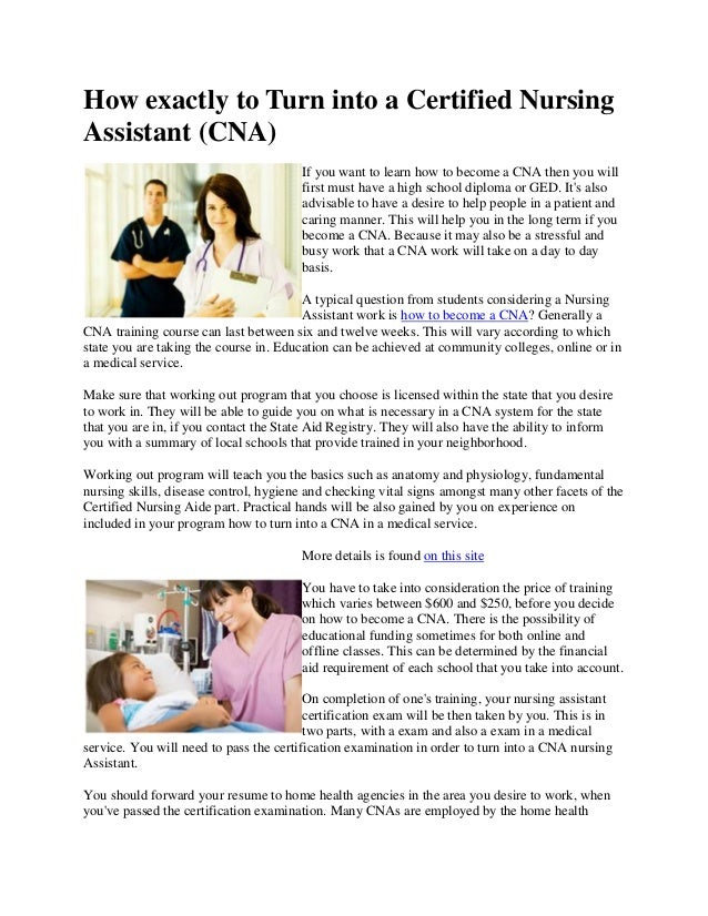 How Exactly To Turn Into A Certified Nursing Assistant Cna