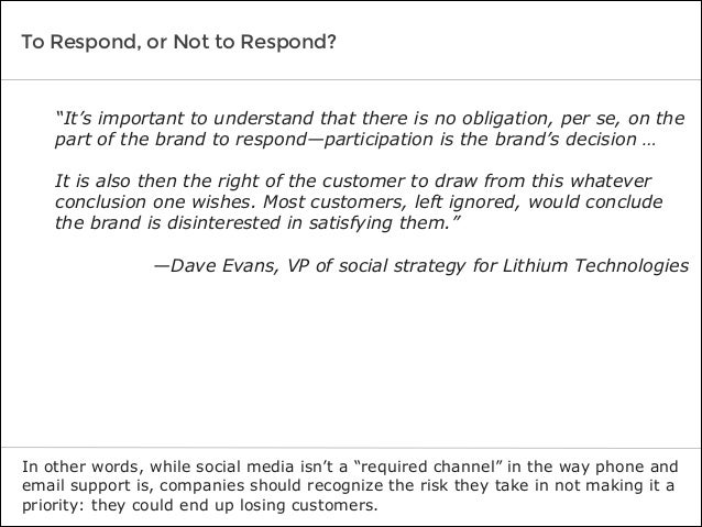"""To Respond, or Not to Respond? In other words, while social media isn't a """"required channel"""" in the way phone and email su..."""