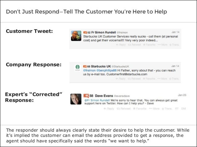 Don't Just Respond—Tell The Customer You're Here to Help The responder should always clearly state their desire to help th...