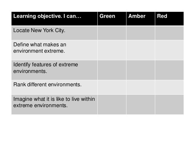 Learning objective. I can…               Green   Amber   RedLocate New York City.Define what makes anenvironment extreme.I...