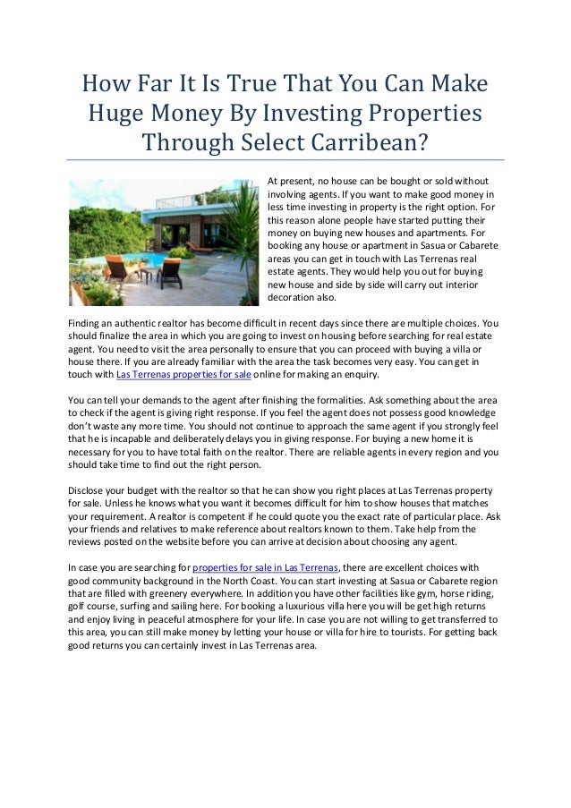 How Far It Is True That You Can Make   Huge Money By Investing Properties       Through Select Carribean?                 ...