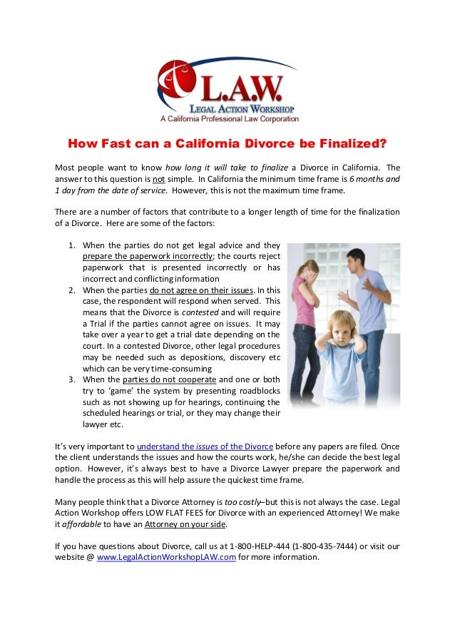 How long to finalize divorce in california