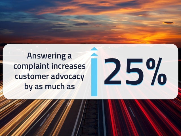 25% Answering a complaint increases customer advocacy by as much as 25%