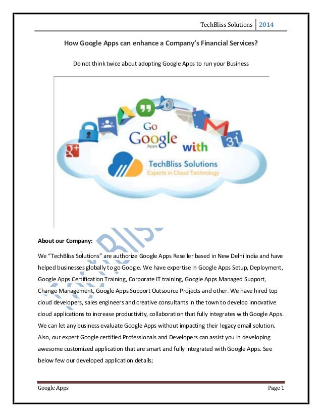 How Google Apps can enhance a Company\'s Financial Services