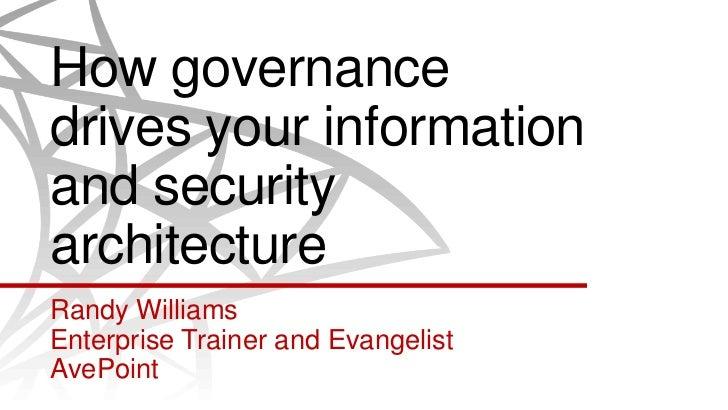 How governancedrives your informationand securityarchitectureRandy WilliamsEnterprise Trainer and EvangelistAvePoint