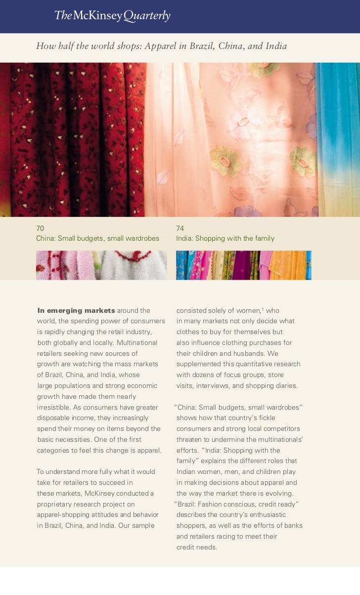 68    The McKinsey Quarterly 2007 Number 4     How half the world shops: Apparel in Brazil, China, and India     70       ...