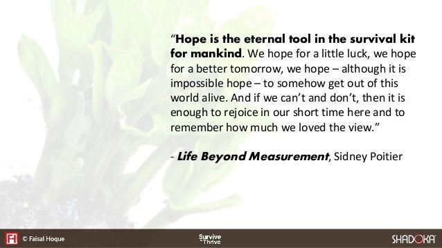 """""""Hope is the eternal tool in the survival kit for mankind. We hope for a little luck, we hope for a better tomorrow, we ho..."""