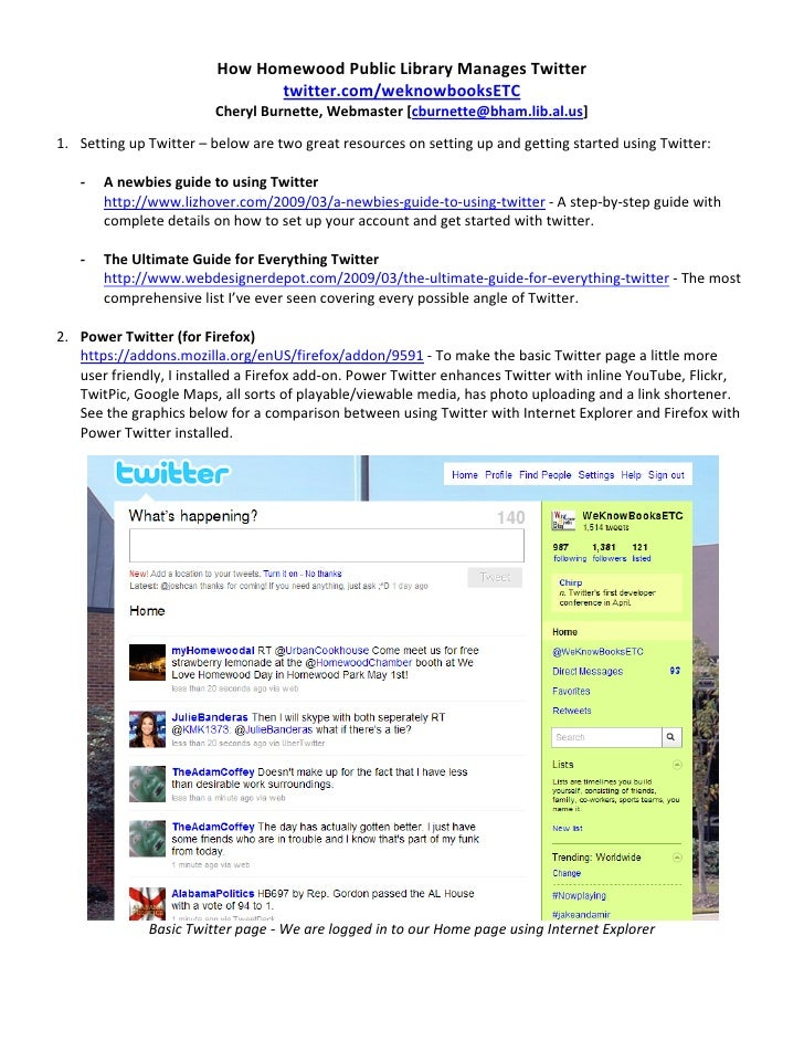How Homewood Public Library Manages Twitter                                  twitter.com/weknowbooksETC                   ...