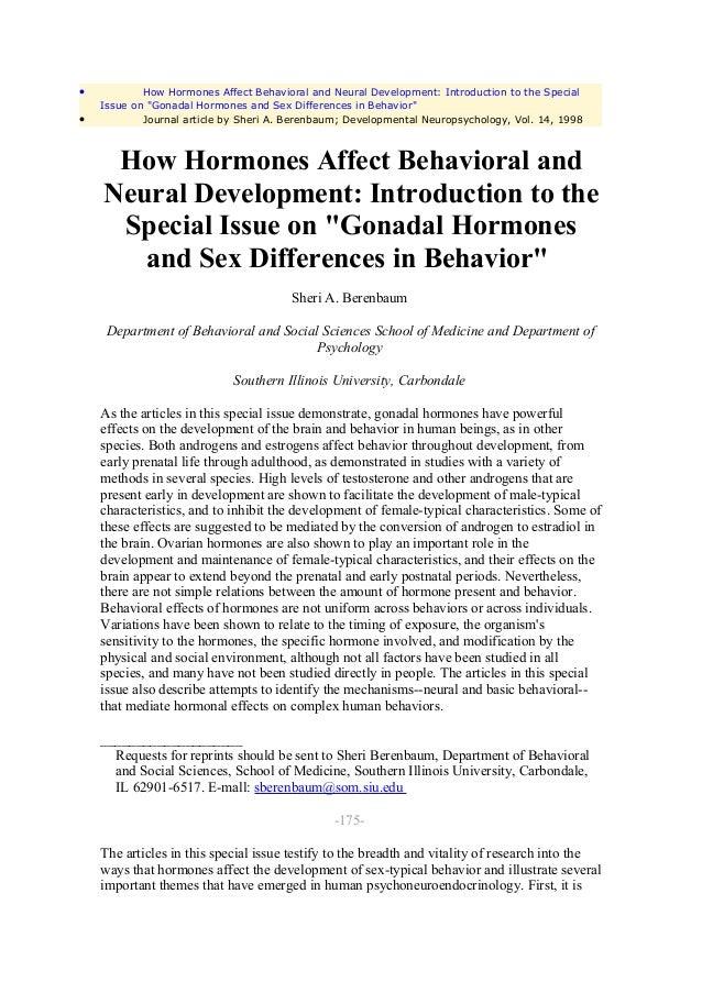 Hormones sexual development and behavior