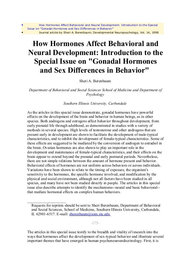 "•           How Hormones Affect Behavioral and Neural Development: Introduction to the Special    Issue on ""Gonadal Hormon..."