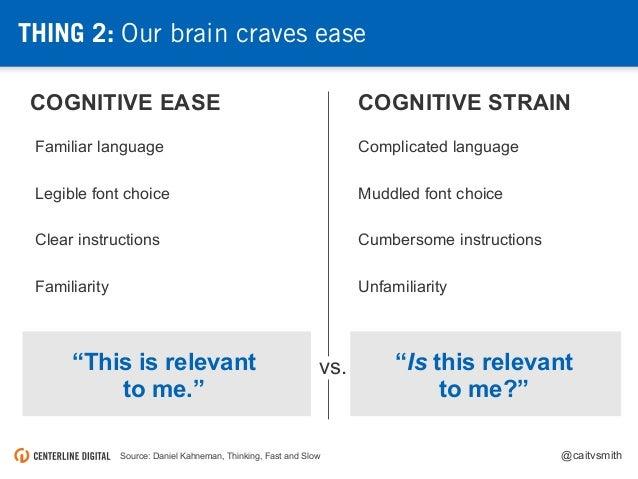 @caitvsmithSource: Daniel Kahneman, Thinking, Fast and Slow COGNITIVE EASE COGNITIVE STRAIN Complicated languageFamiliar l...