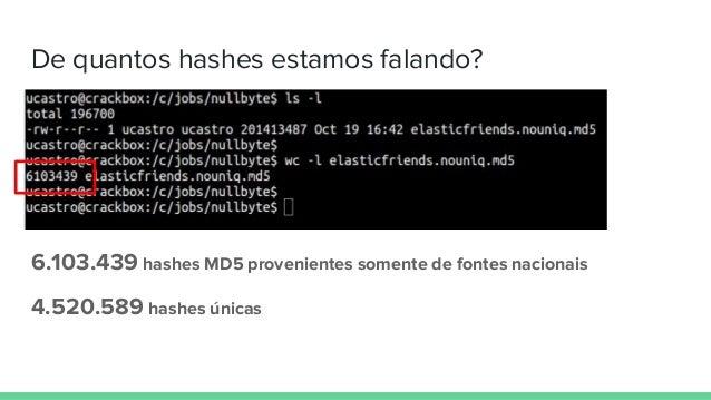 De quantos hashes estamos falando? 6.103.439 hashes MD5 provenientes somente de fontes nacionais 4.520.589 hashes únicas