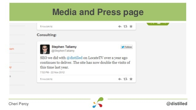 @distilledCheri Percy Media and Press page
