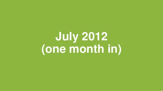 July 2012 (one month in)