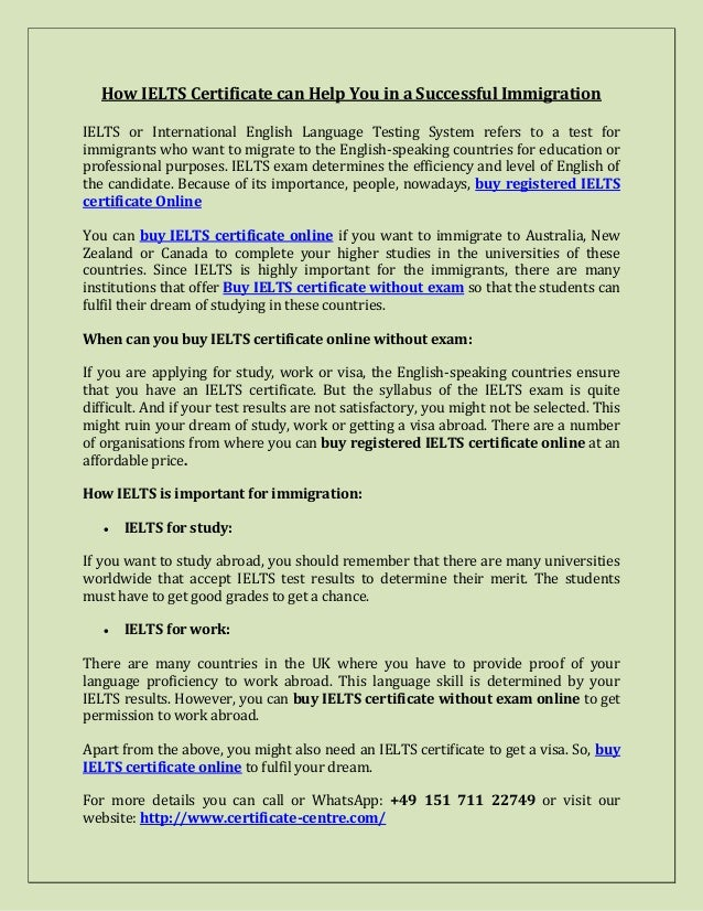 How IELTS Certificate can Help You in a Successful Immigration