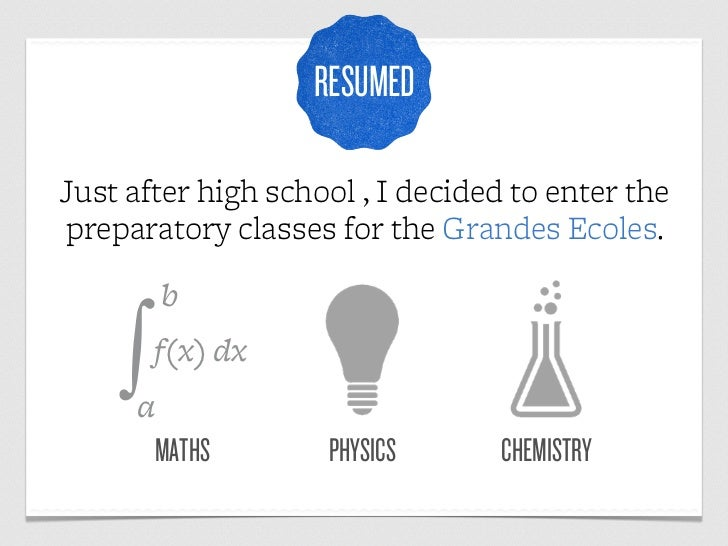 RESUMEDJust after high school , I decided to enter thepreparatory classes for the Grandes Ecoles.        b    ∫a        f(...