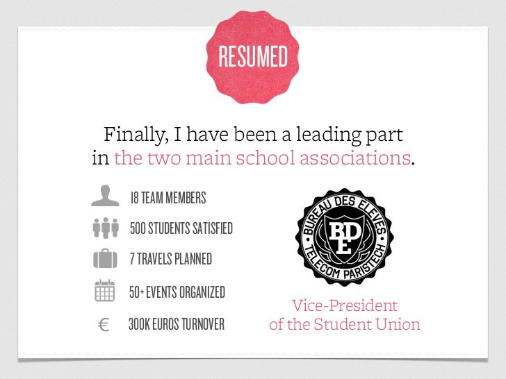 RESUMED  Finally, I have been a leading partin the two main school associations.    18 TEAM MEMBERS    500 STUDENTS SATISF...