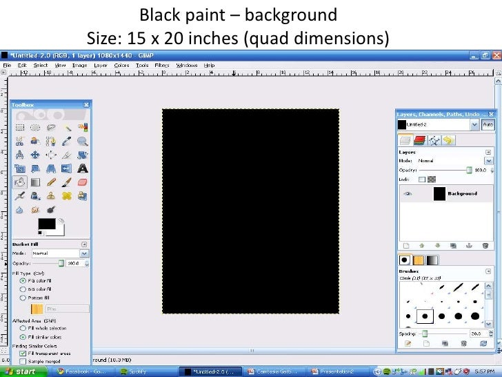 Black paint – background<br />Size: 15 x 20 inches (quad dimensions)<br />