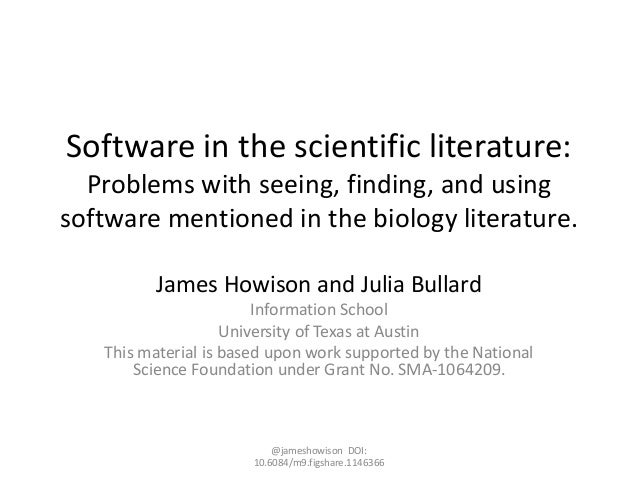 Software in the scientific literature: Problems with seeing, finding, and using software mentioned in the biology literatu...