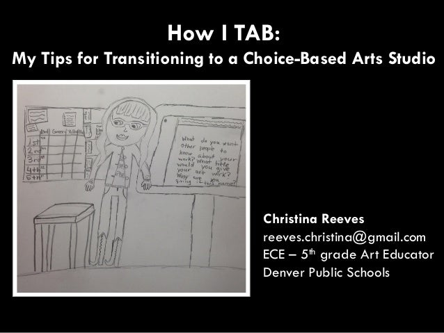 Christina Reeves reeves.christina@gmail.com ECE – 5th grade Art Educator Denver Public Schools How I TAB: My Tips for Tran...