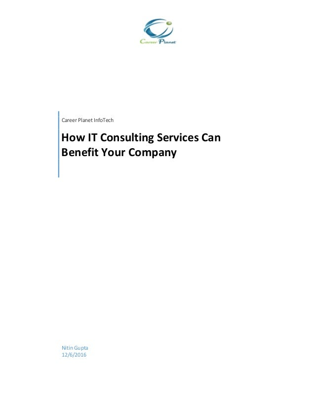 Consultancy Service Company : How it consulting services can benefit your company