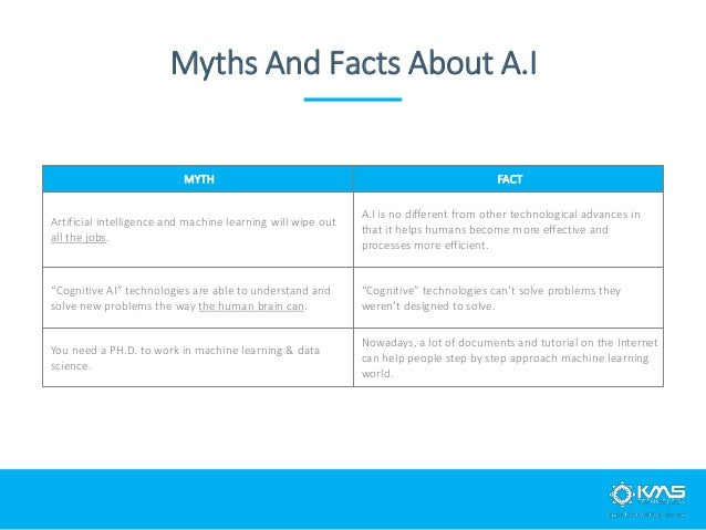 Myths And Facts About A.I MYTH FACT Artificial intelligence and machine learning will wipe out all the jobs. A.I is no dif...