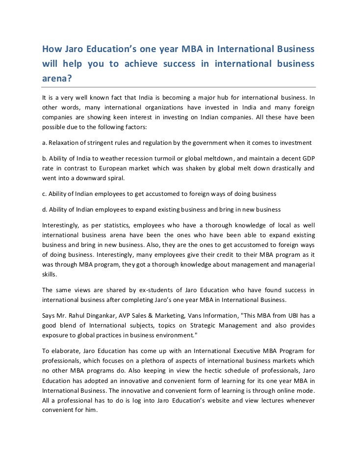 How Jaro Education's one year MBA in International Businesswill help you to achieve success in international businessarena...