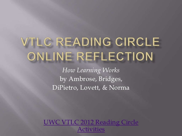 How Learning Works    by Ambrose, Bridges,  DiPietro, Lovett, & NormaUWC VTLC 2012 Reading Circle        Activities