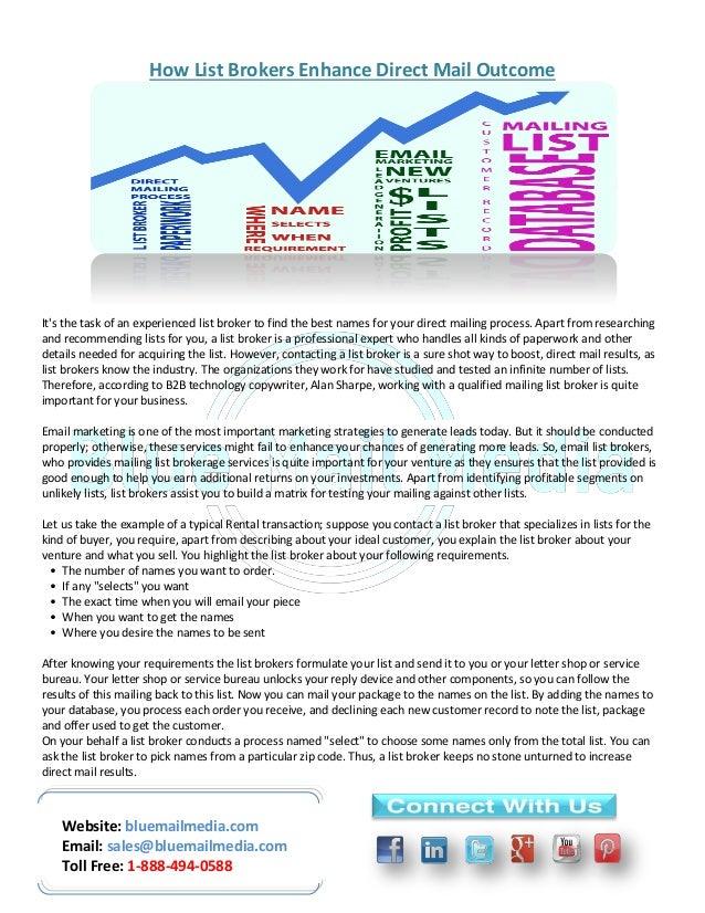 Website: bluemailmedia.com Email: sales@bluemailmedia.com Toll Free: 1-888-494-0588 How List Brokers Enhance Direct Mail O...