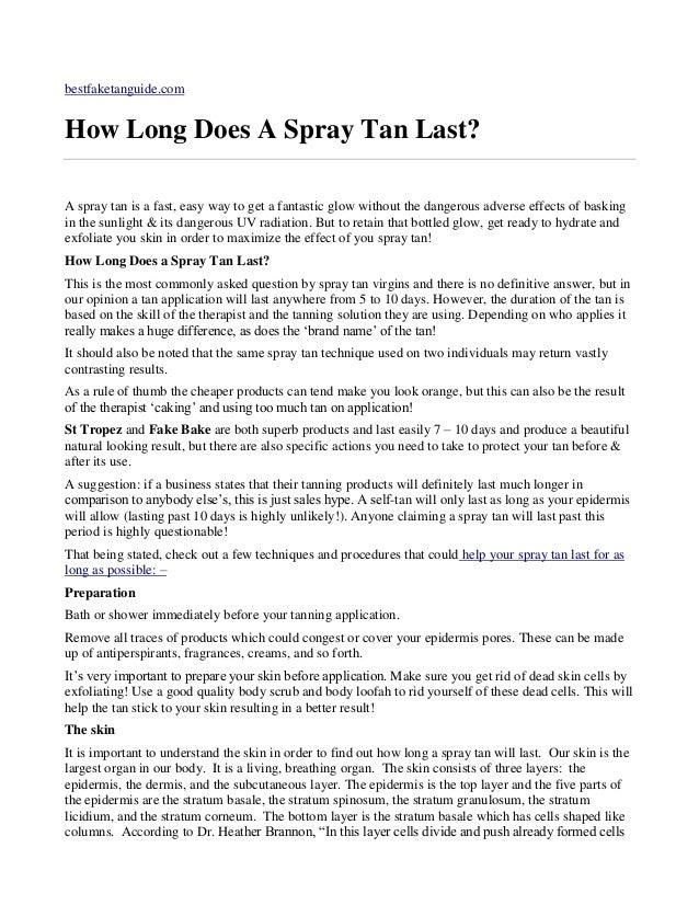 How Long Does A Spray Tan Last