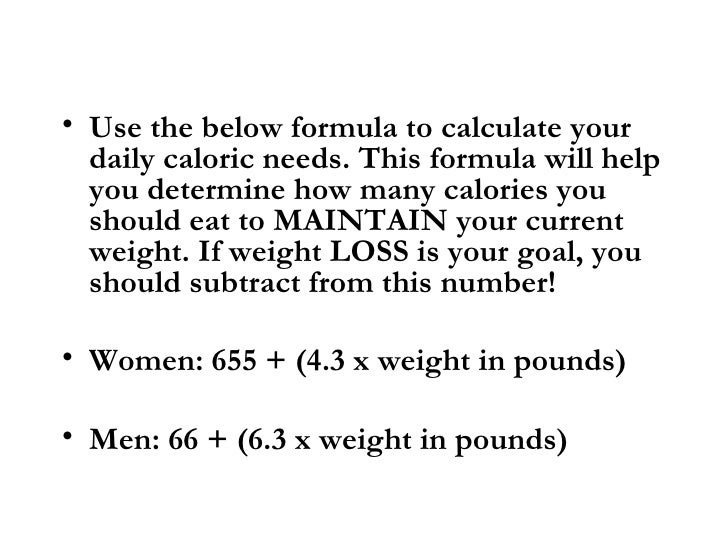 How many calories do you need to take in to maintain your weight?