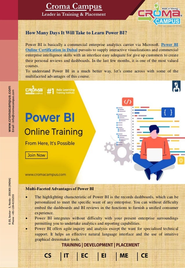 How Many Days It Will Take to Learn Power BI? Power BI is basically a commercial enterprise analytics carrier via Microsof...