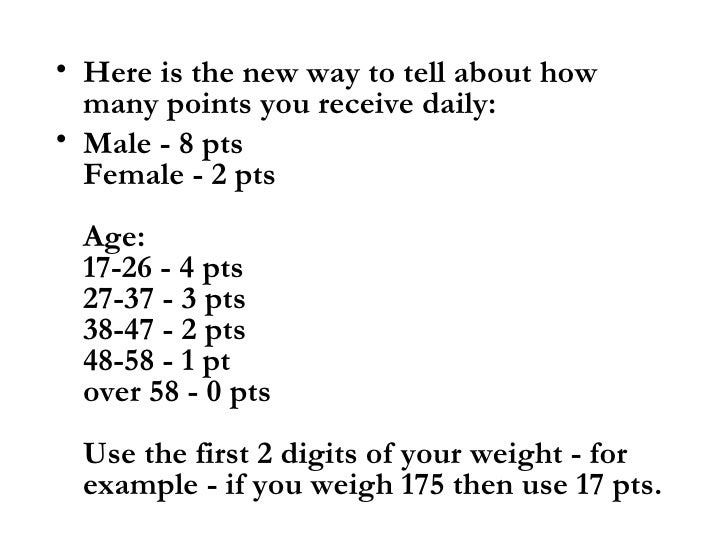 How many weight watchers points can i have per day