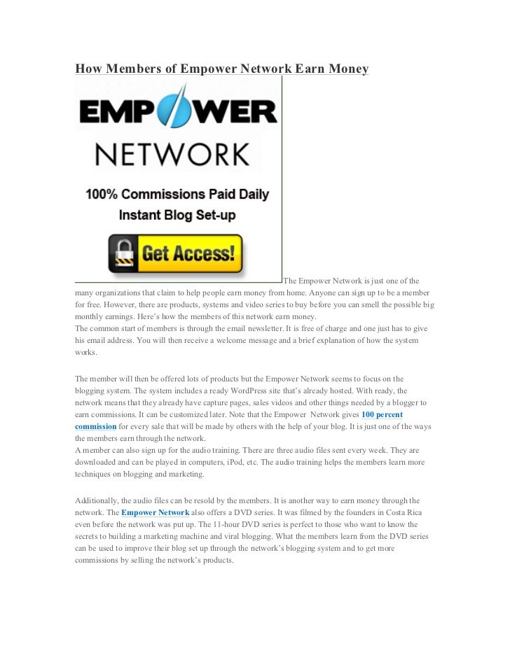 How Members of Empower Network Earn Money                                                               The Empower Networ...