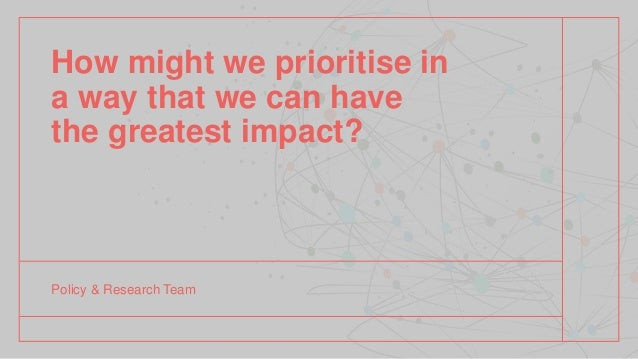 How might we prioritise in a way that we can have the greatest impact? Policy & Research Team