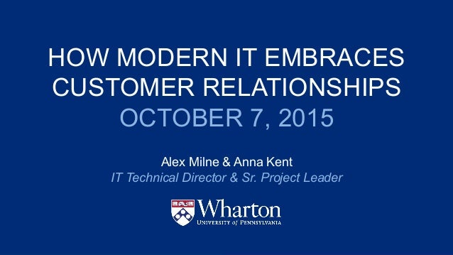 HOW MODERN IT EMBRACES CUSTOMER RELATIONSHIPS OCTOBER 7, 2015 Alex Milne & Anna Kent IT Technical Director & Sr. Project L...