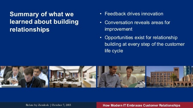 Summary of what we learned about building relationships • Feedback drives innovation • Conversation reveals areas for im...
