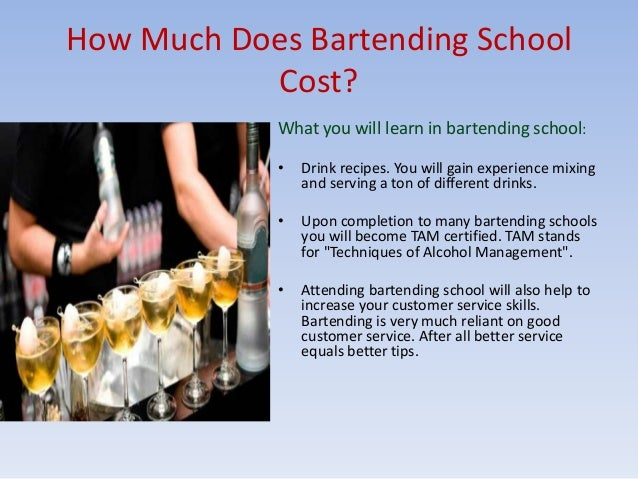 How much does bartending school cost?