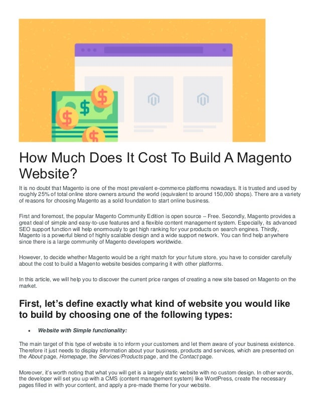 How much does it cost to create a magento ecommerce store for Website building cost