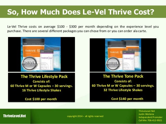 How Much Does Le Vel Thrive Cost Get Yours For Free