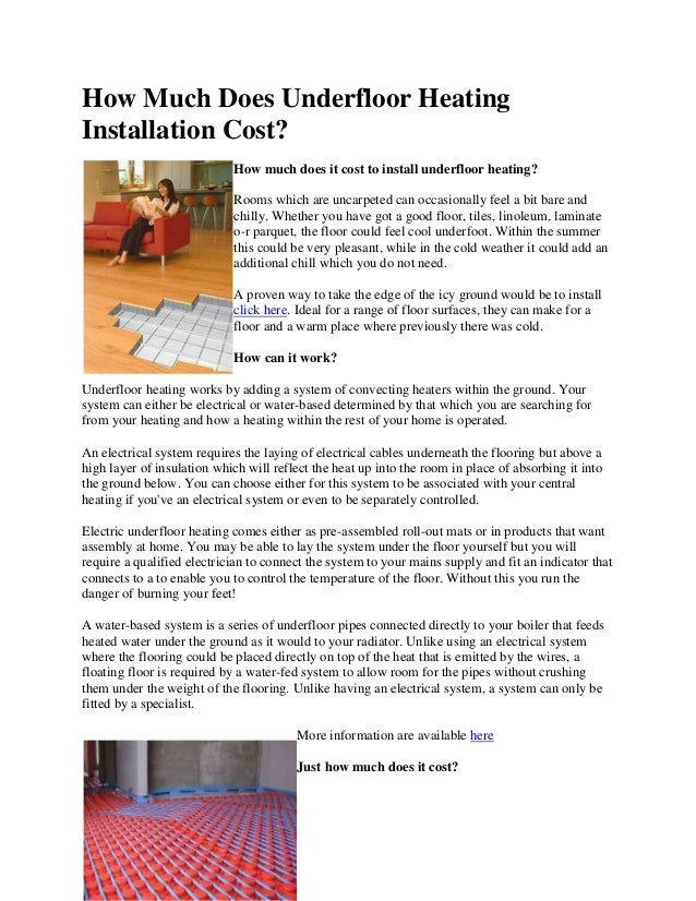 How Much Does Underfloor Heating Installation Cost - Cost of installing underfloor heating