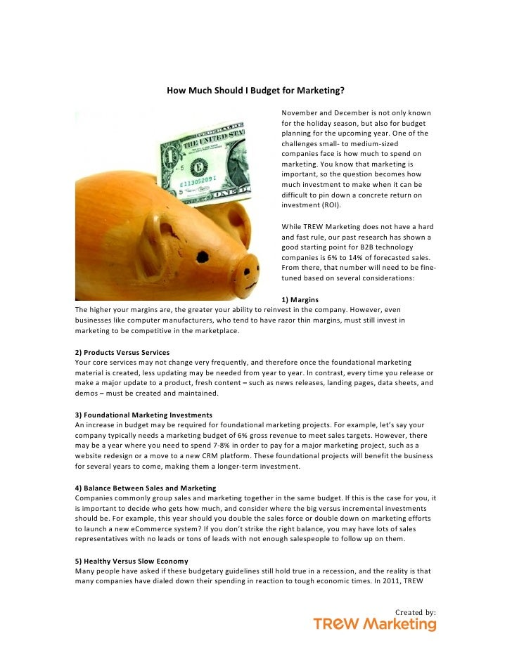 How Much Should I Budget for Marketing?                          ...
