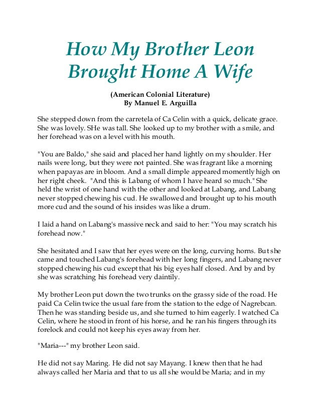 Literary analysis how my brother leon brought home a wife