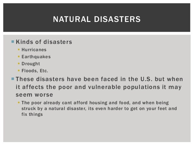 Vulnerable Populations Of Natural Disasters